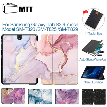 цена на MTT Marble PU Leather Case For Samsung Galaxy Tab S3 9.7 inch SM-T820 SM-T825 SM-T829  Fold Flip Stand Cover Tablet Case