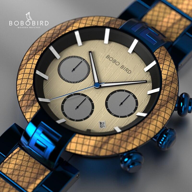 Reloj Hombre BOBO BIRD Wooden Watch Men Stopwatch Handmade Male Quartz Wristwatch Women Wooden Dropshipping Erkek Kol Saati