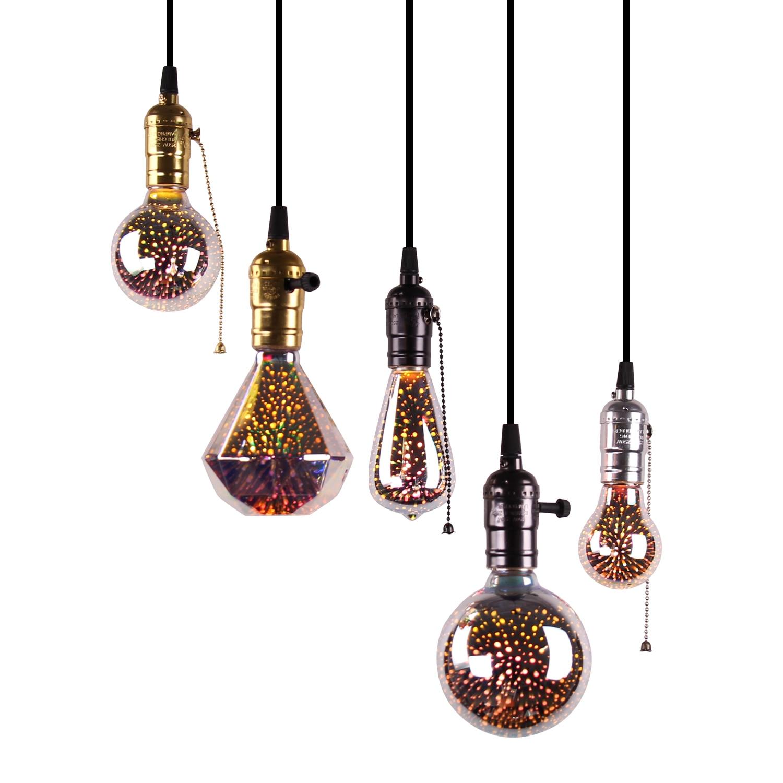 Led E27 Light Bulb 3D Decoration Bulb Firework 110 220V ST64 G95 G80 G125 A60 Bottle Heart Holiday Lights Novelty Christmas Lamp