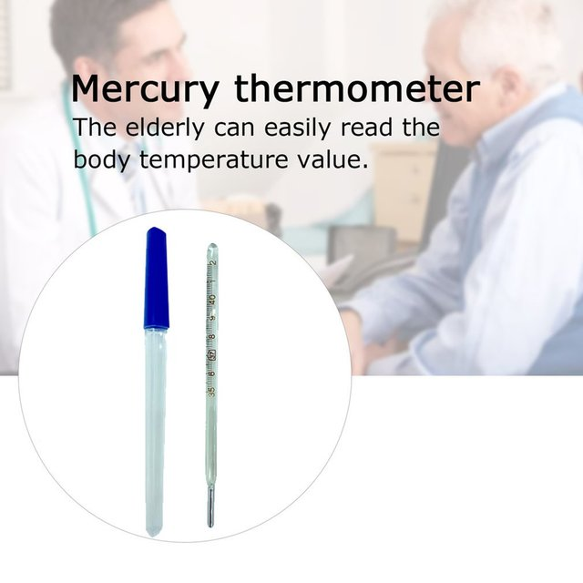 2 pcs Mercury Glass Thermometer Household Clinical Mercury Thermometer Adult Baby Body Temperature Measurement