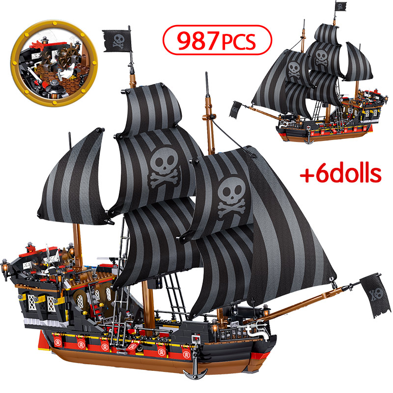 987pcs The Black Pearl Ship series Compatible Legoinglys Pirates Ships Caribbean Model Building Blocks Christmas Gift Kids Toys