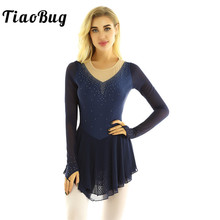 TiaoBug Women Long Sleeves Shiny Rhinestones Figure Skating Dress Gymnastics Leotard Stage Performance Ballet Dance Costume
