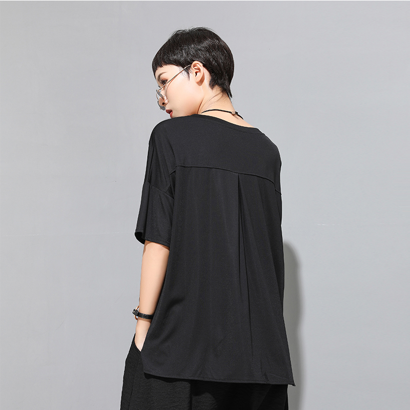 [EAM] Women Black Ruffles Split Irregular Big Size T-shirt New Round Neck Half Sleeve  Fashion Tide  Spring Summer 2020 1U806 3