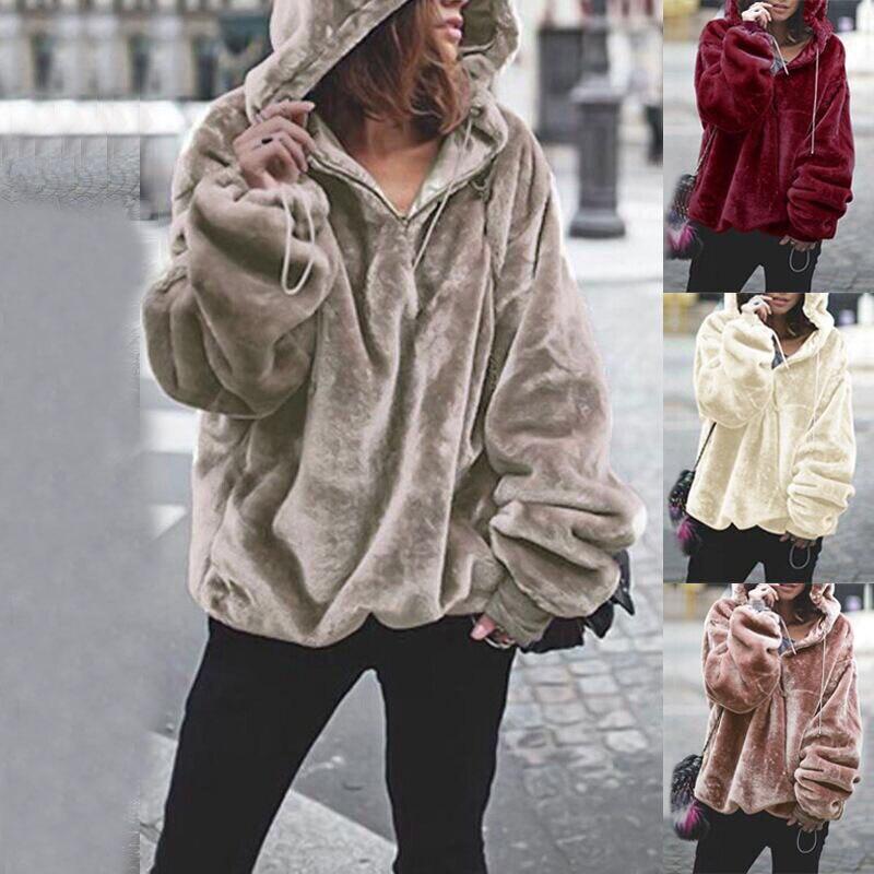 2019  Winter Hoodies Women Korean Fashion Hooded Warm Fur Sweatshirt  New  Pullover  Ladies Streetwear Clothes Tops BDR682