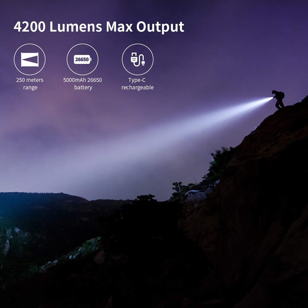 Image 2 - WUBEN LED Flashlight Super Powerful Torch 26650 Battery 4200 Lumens CREE LED Waterproof Type C Rechargeable Flashlights T70LED Flashlights   -