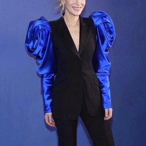 Image 5 - CHICEVER טלאים Hit צבע נשים של בלייזר מחורצים כותרת שרוול טוניקה בתוספת גודל נקבה טרייל 2020 סתיו אופנה חדש בגדים