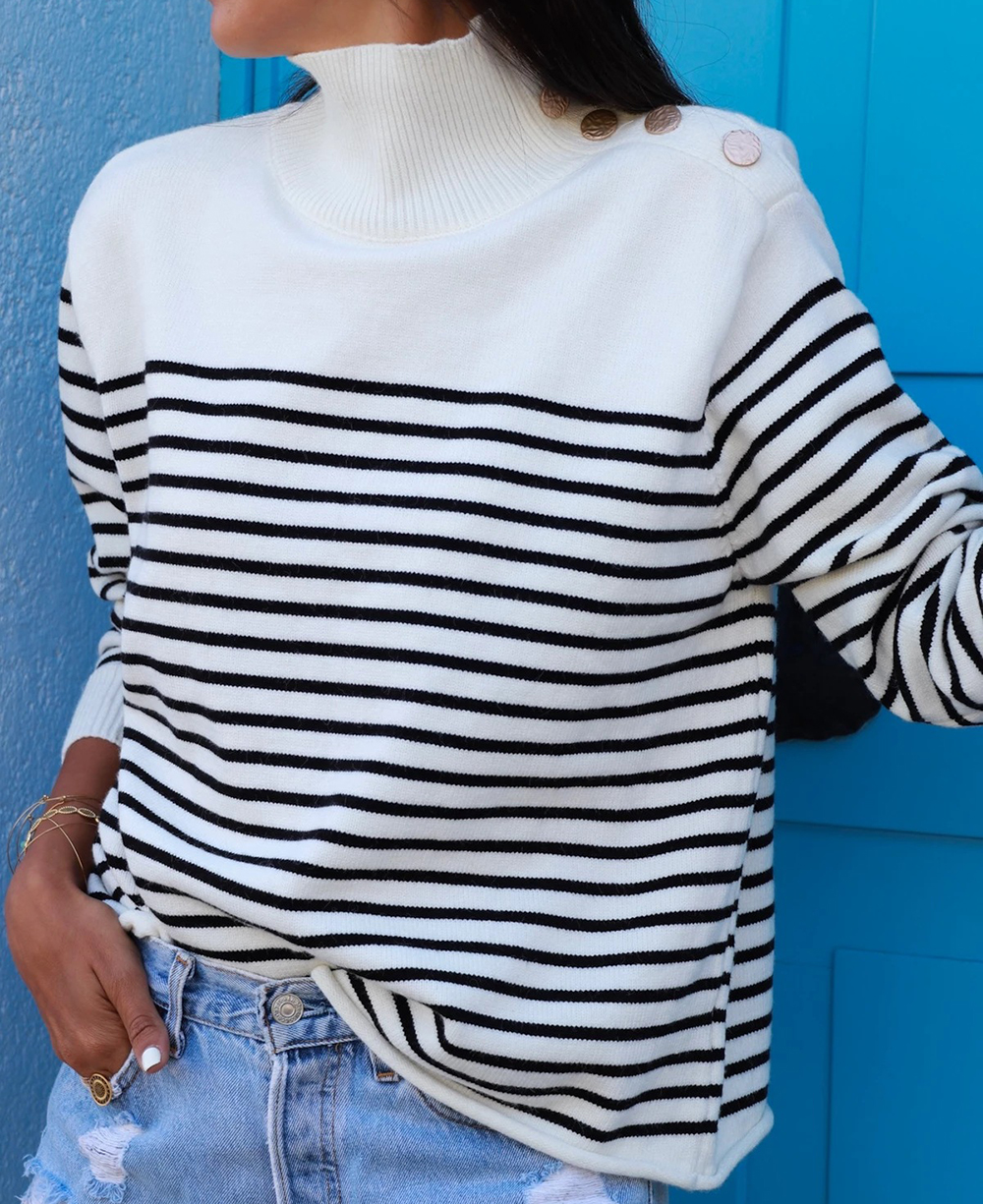 Autumn Winter Black Striped Sweater Women Knitted Pullover Long Sleeves Femme Jumper Thin Black White Woman Clothes
