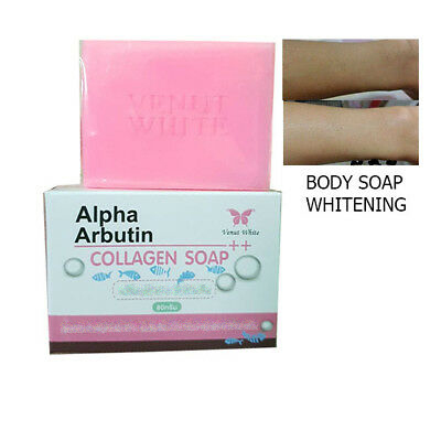 Alpha Arbutin & Collagen Double White Soap Lightening Whitening Skin Face Body Free Ship