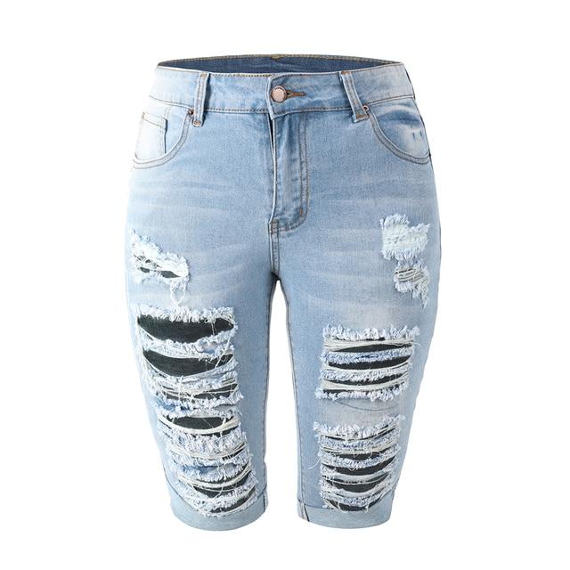 Delle Donne Aumento Medio Elastico Denim Shorts di Lunghezza Del Ginocchio Curvy Bermuda Breve Tratto Jeans 3