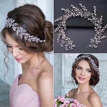 Moda roxo cristal pérola casamento bandana tiara artesanal hairband nupcial headpiece casamento acessórios para o cabelo das mulheres jóias