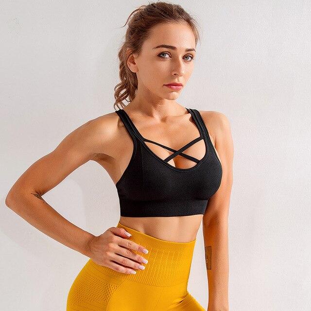 SALSPOR Yoga sport soutien-gorge femmes dos croix rassemblement Push Up gilet soutiens-gorge Fitness élastiques respirant course sous-vêtements dentraînement