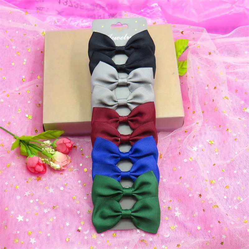 10PCS/SET With Card Dark Colors Boutique Grosgrain Ribbon Girl Bows Hair Clips Bow Hair Accessories Creativity Hairpin Headwear
