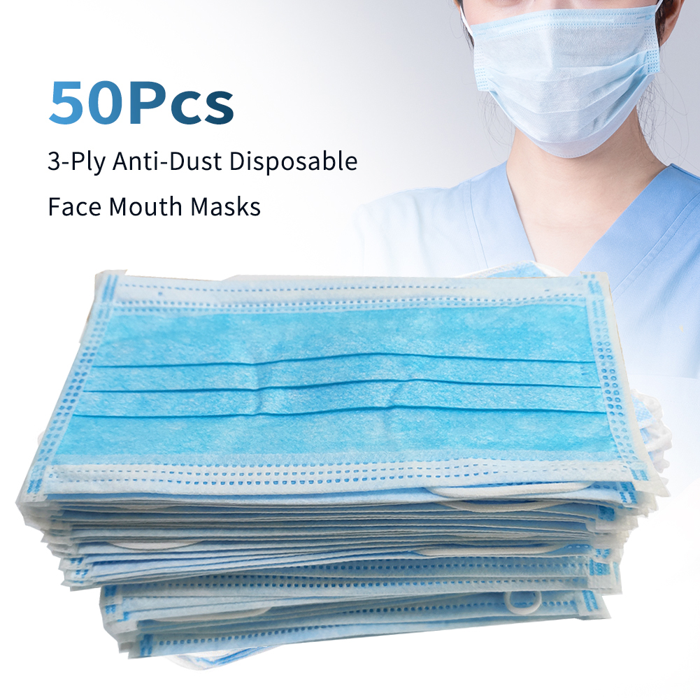 Disposable Cotton Anti Dust Mouth Mask Windproof Protective Bacteria Proof Flu 3Layer Non Woven Safety Facial Face Cover Earloop