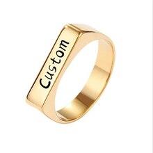 Nome personalizado anéis de ouro cor de aço inoxidável símbolo quadrado dedo jóias para presente de aniversário masculino feminino