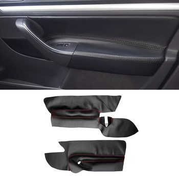 For VW Golf 5 MK5 2005 2006 2007 - 2010 only 3 doors Car Microfiber Leather 2pcs Front Door Armrest Panel Cover Protective Trim for honda civic 10th gen 2016 2017 car door handle panel armrest microfiber leather cover only 4 doors model