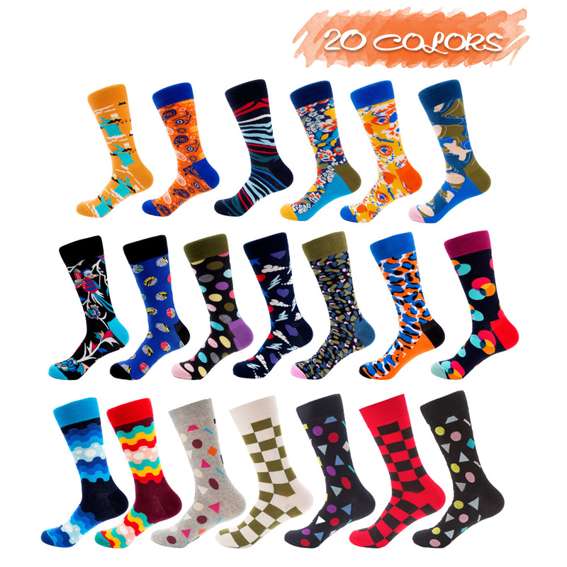 Men Combed Cotton Funny Happy Novelty UGUPGRADE Long Crew Beatles Rock Crazy Fun Funky Skateboard Socks Colorful Yellow Sox