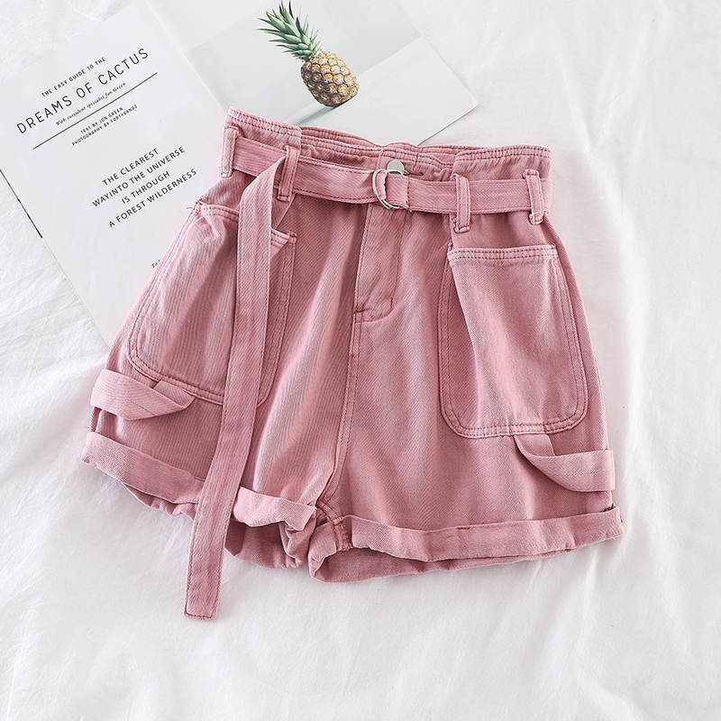 H25e87f708f4243c3854e2486699c4b8fq - Retro Denim Shorts Women Spring Summer Wide Leg Shorts With Belt Casual Hotpants Pink White Jeans High Waist Women Shorts C6129