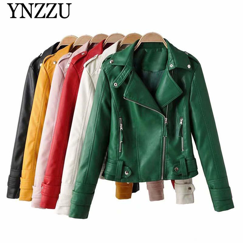 2019 Autumn Winter Green Women PU jacket Slim Motorcycle Faux leather jackets Long sleeve Girls Female Solid Outwear YNZZU YO945