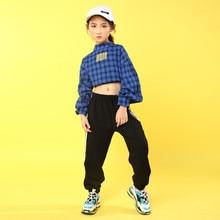 Children Jazz Dance Clothing Girls Street Dance plaid Shirt Hip Hop Dance Costumes Kids Performance Party Clothes Sets 110 180