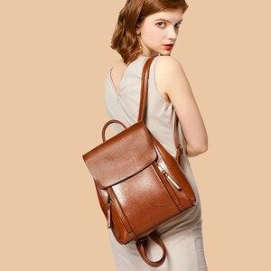 Image 3 - Yonder kobiety plecak szkolne torby dla nastolatków dziewczyny prawdziwy skórzany plecak szkolny dla kobiet o dużej pojemności mochila brown 2019
