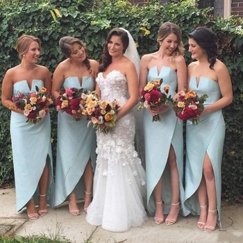 Cheap High Low Beach Bridesmaid Dresses Side Split Satin Wedding Guest Dress Sheath Simple Bohemian Maid Of The Honor Gowns plus size royal blue bridemaid dresses sheer o neck lace applique high side split wedding guest dress maid of honor gowns