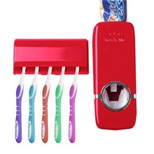 Home Automatic Toothpaste Dispenser 5 Toothbrush Holder Set Wall Mount Stand Squeeze Toothpaste Dispenser Bathroom Supplies