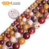 """Natural Assorted Jaspers Stone Round Shape 6mm 8mm 10mm 12mm Loose Beads Big Hole Beads for Jewelry Making 15"""" Strand Wholesale"""