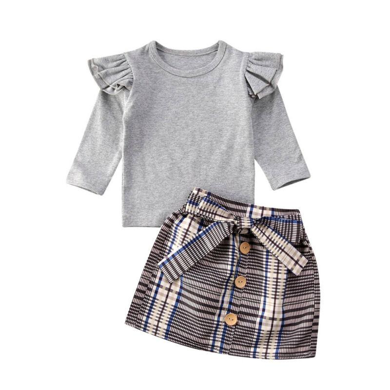 >2020 Spring New <font><b>2PCS</b></font> <font><b>Toddler</b></font> <font><b>Kids</b></font> Baby Girl Clothes 0-5Y Casual Solid Cotton Tops T-shirt Plaid Dress Skirt Outfits Set