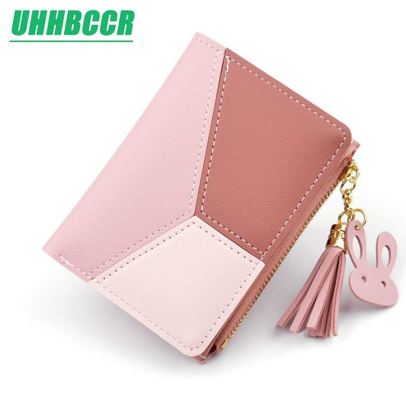 UHHBCCR Geometric Women Cute Pink Wallets Pocket Purse Card Holder Patchwork Wallet Lady Female Fashion Coin Burse Money Bag