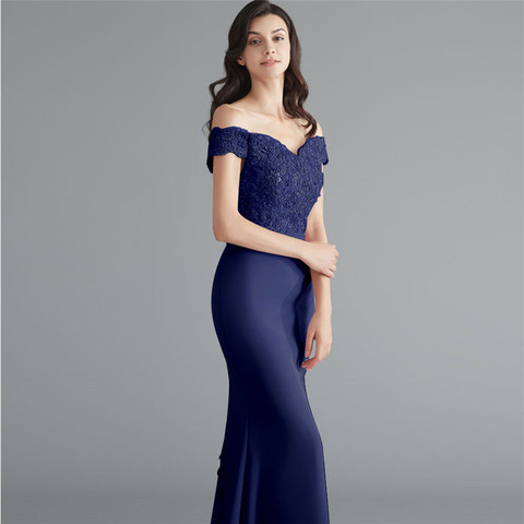 Beauty Emily Lace Navy Blue Evening Dress 2019 Beads Sequined Long Lace Up Formal Party Prom Dress Floor-length  robe de soiree Islamabad