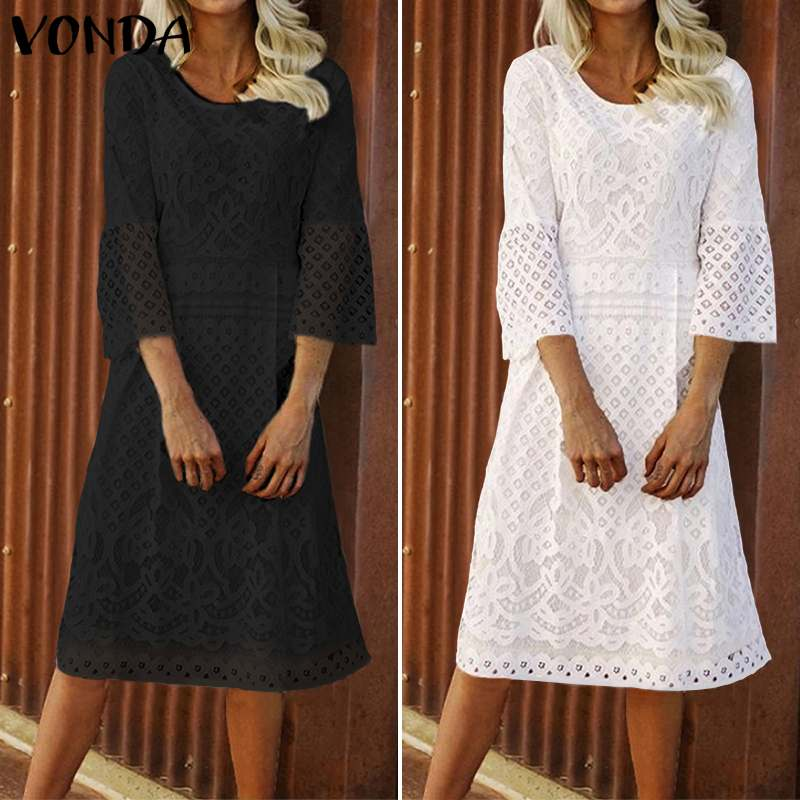 VONDA High Quality Fashion Women Black Dress Summer 3/4 Sleeve O-Neck Casual Loose Dress Female Street Plus Size Vestidos