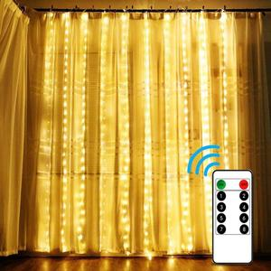 Image 1 - 3x 2/4x2 원격 제어 고드름 커튼 요정 조명 크리스마스 조명 LED 문자열 조명 갈 랜드 파티 정원 거리 웨딩 장식
