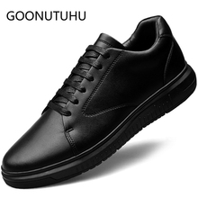 2019 new fashion men's shoes casual genuine leather man flat sneakers black lace up shoe male comfortable platform shoes for men