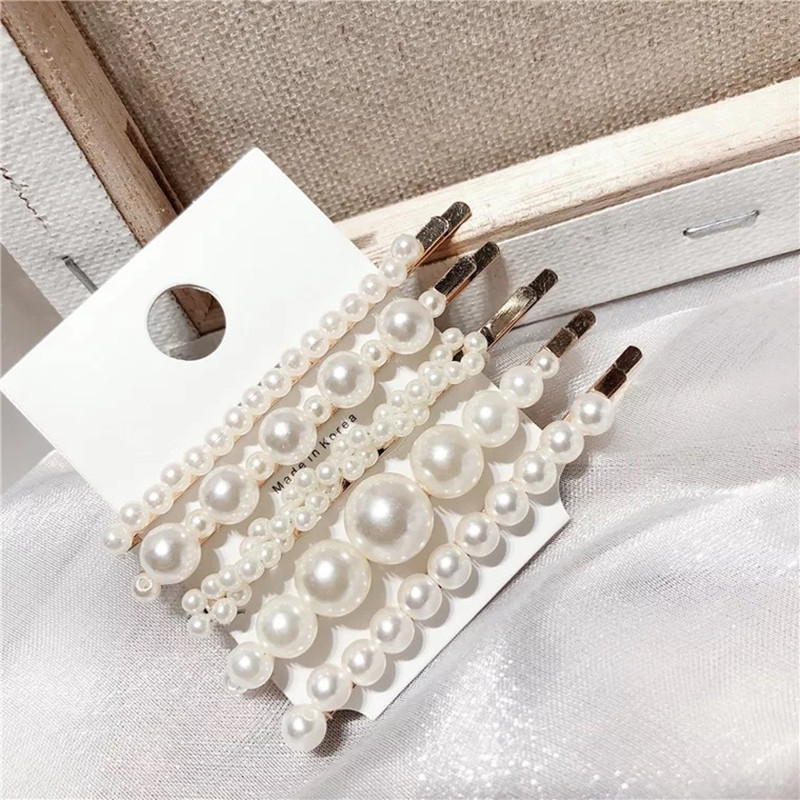 5pcs/lot Big Small Imitation Pearl Beads Hair Clips Hairpins For Women Fashion Hair Jewelry Simple Barrettes Wholesale