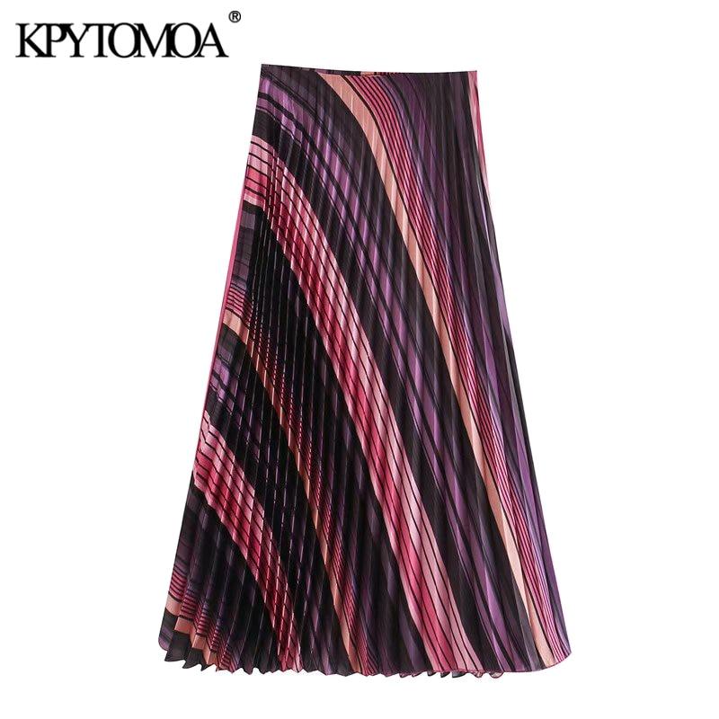 KPYTOMOA Women 2020 Chic Fashion Color Striped Pleated Midi Skirt Vintage High Waist Side Zipper Female Skirts Faldas Mujer