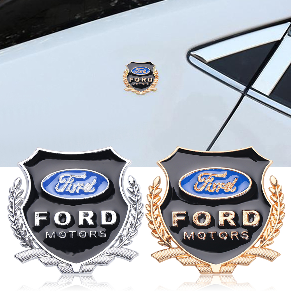 2Pcs Car-Styling 3D Metal Emblem Auto Window Sticker For Ford Fiesta Mondeo Fusion Explorer Escape Shelby Edge Ecosport Kuga