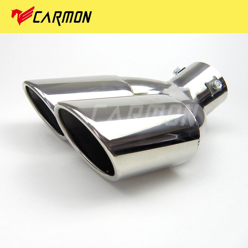 Carmon Stainless Steel Oval Dual Twin <font><b>Exhaust</b></font> Pipe Tail Pipe Tip For <font><b>BMW</b></font> <font><b>E30</b></font> E32 E34 E36 E46 End Pipe Tip image