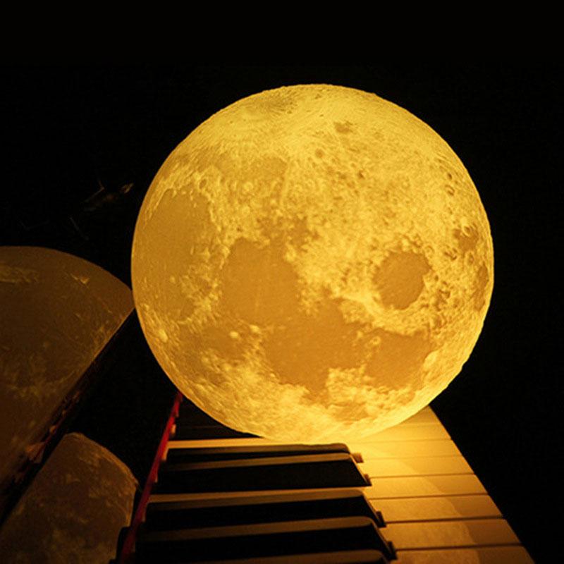 Moon Light Multicolor Home Decor Desk Lamp 3D Print Moon Lamp Brightness Battery 11cm Perfect Gift Earth Creative Personality