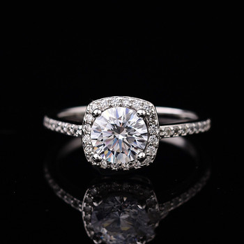 925 Sterling Silver Ring Moissanite Women Wedding Rings White D Color VVS1 1ct(6.5mm) Fine Jewelry with Certificate
