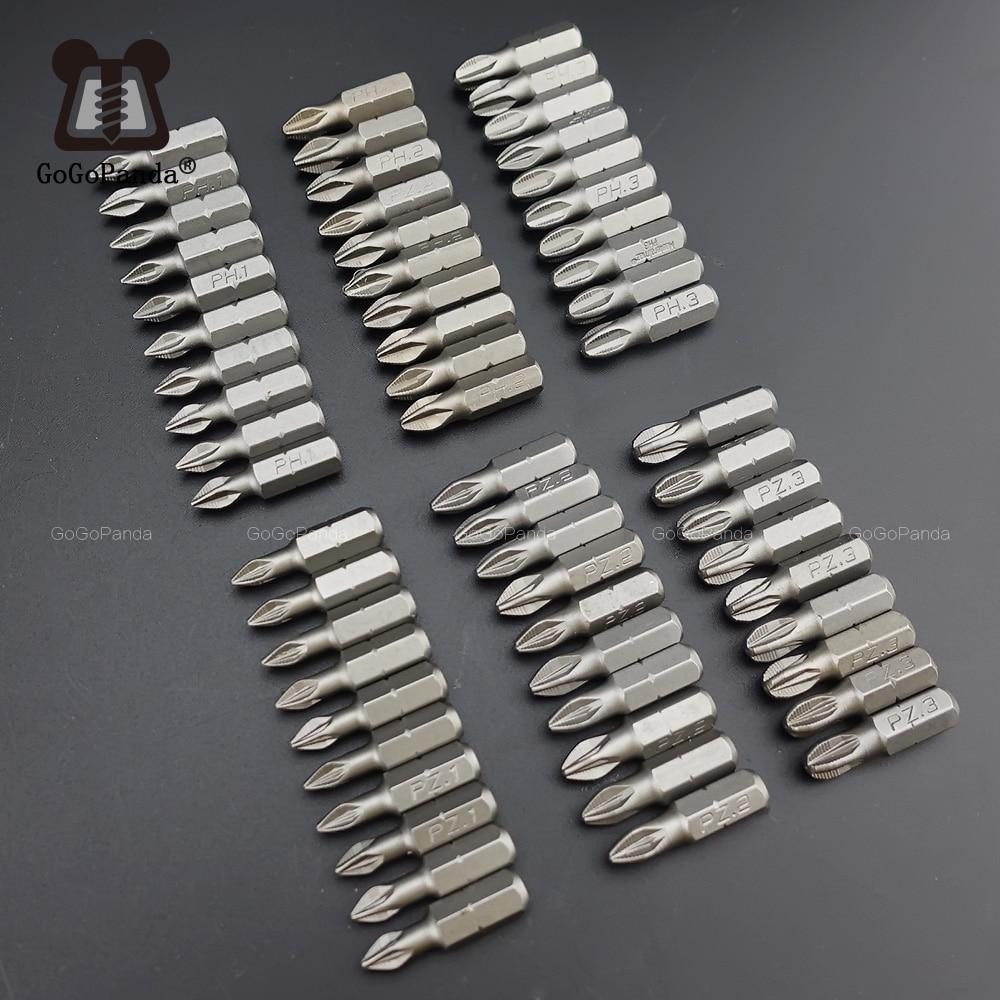 10Pcs/Lot 25mm CR-V PZ/PH Pozidrive Phillips Bits Hex Shanked Anti Slip Screwdriver Bits Magnetic Single Head PZ1 PZ2 PZ3 6.35mm