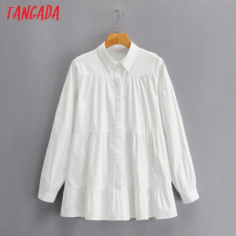 Tangada mujeres Vintage blanco de gran tamaño camisa de manga larga de primavera mujer Chic Casual Camisa SY158