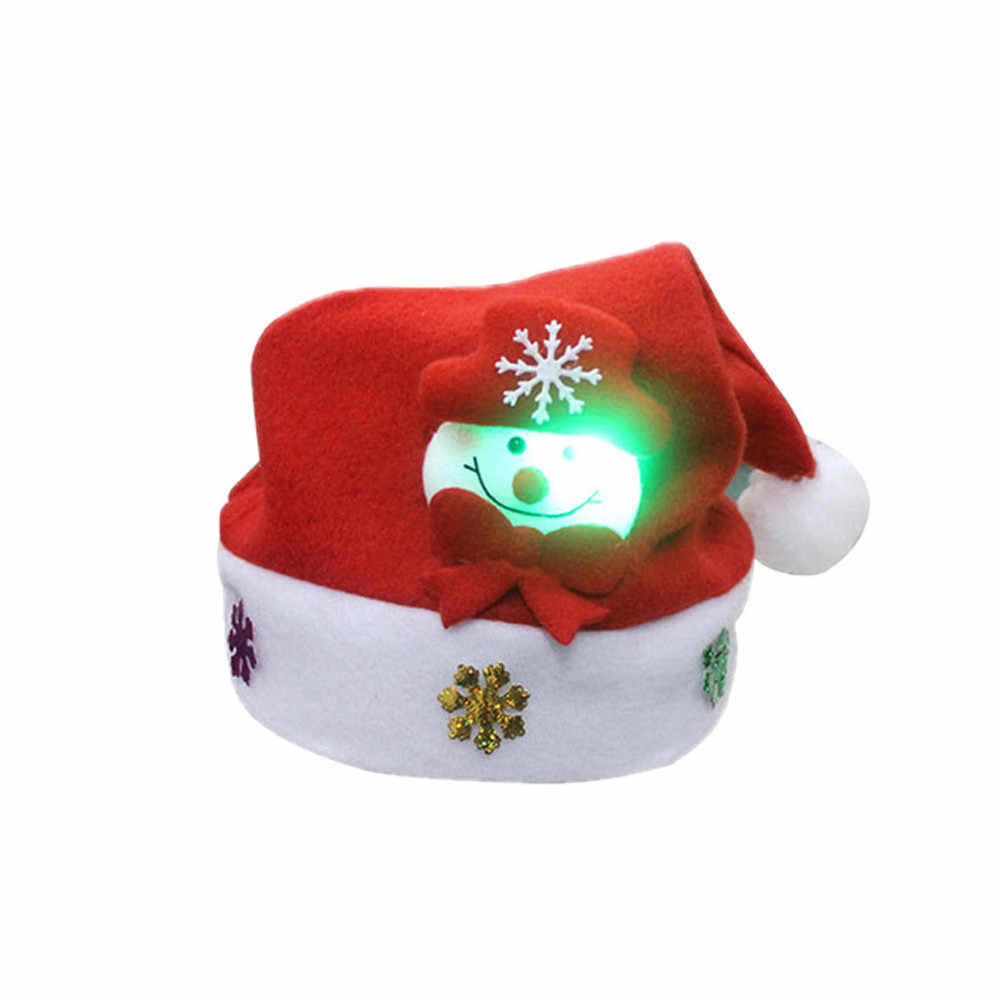 Christmas Hat Kerstmuts New Year Decoration Bonnet Noel Kids LED Christmas Hat Santa Claus Reindeer Snowman Xmas Gifts Cap #37