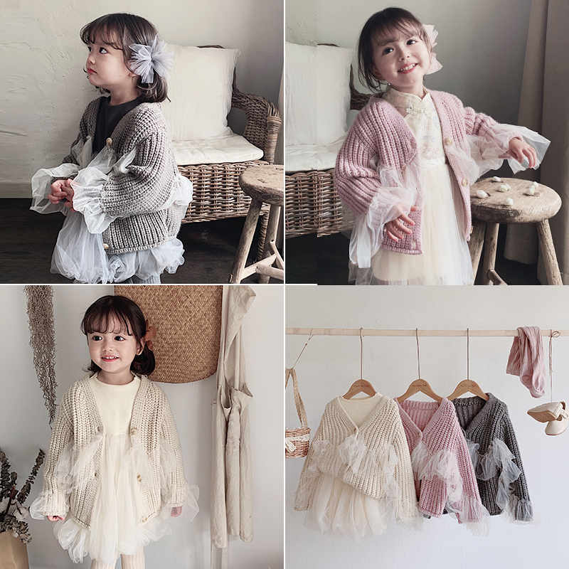 Girls 2019 Autumn Sweet Long Sleeve with Lace Edge Fairy Stitching Lazy Sweaters Baby Kids Pure Wool Cardigan Jacket Toddler Top