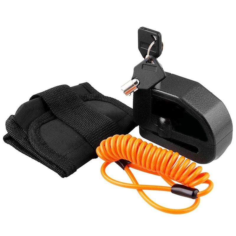 Waterproof Motorcycle Alarm Lock Bike Lock Security Anti-Theft Lock Moto Disc Brake Lock + Bag + Reminder Rope
