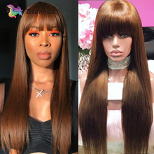 Long Straight Wig With Bangs Human Hair Peruvian Remy Hair Glueless Wig Brown Color Machine Wigs For Women 8-26