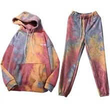 Outfits Sweatshirt Tracksuit Tops Hoodie Long-Pants Print 2pieces-Set Women Autumn Casual