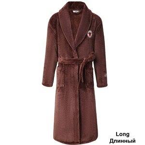Image 4 - Green Women Men Coral Kimono Bathrobe Gown Lovers Couple Flannel Nightwear Winter Ultra Thick Warm Robe Sleepwear
