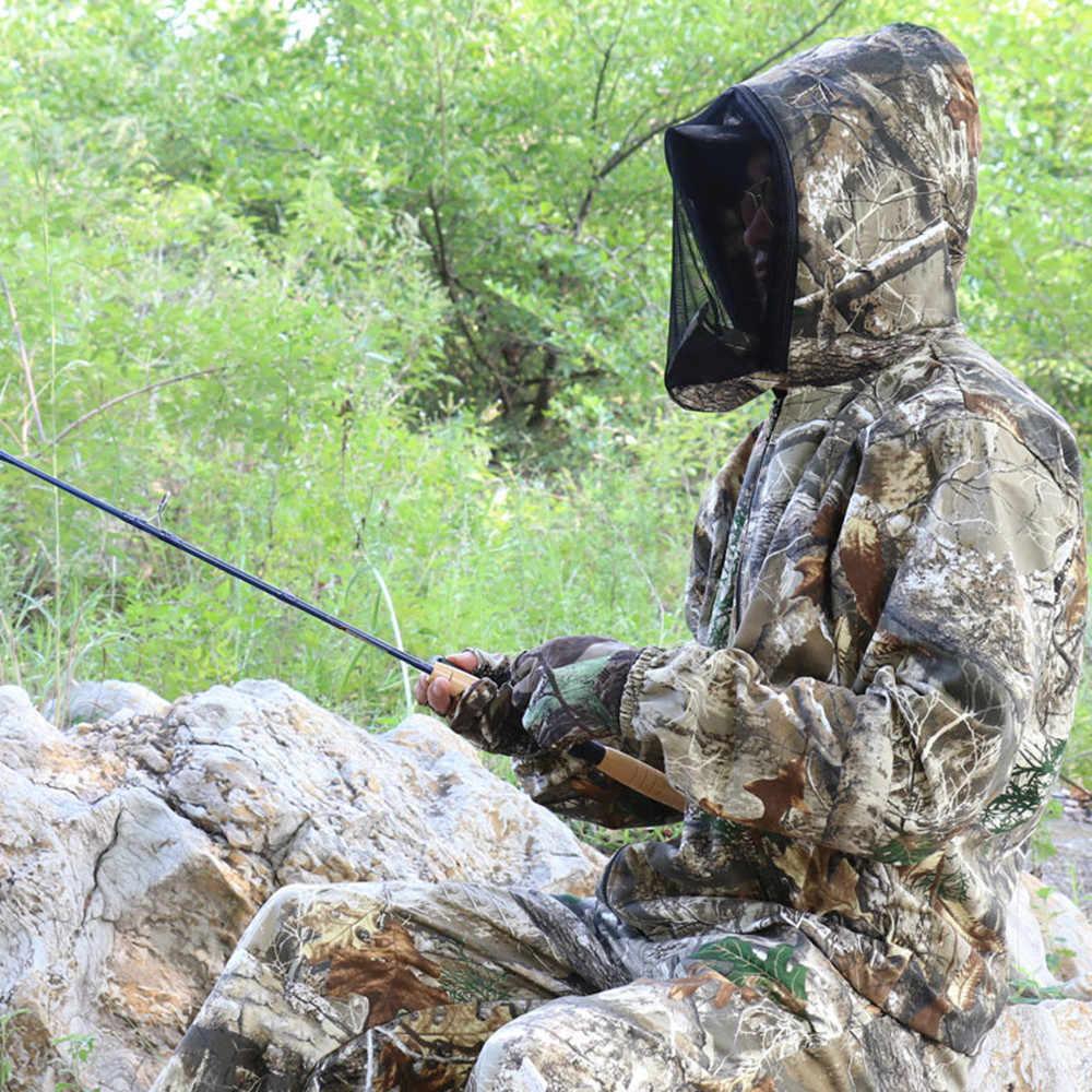 Camuflaje biónico al aire libre Anti-mosquito traje de pesca caza Tiro Táctico Camo traje Chaqueta larga pantalones primavera otoño Unisex