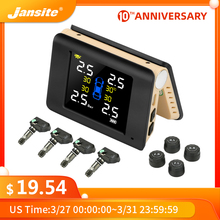 цена на Jansite TPMS Wireless Car Tire Pressure Monitoring Intelligent System Solar Power LED Display with 4 Built-in or External Sensor