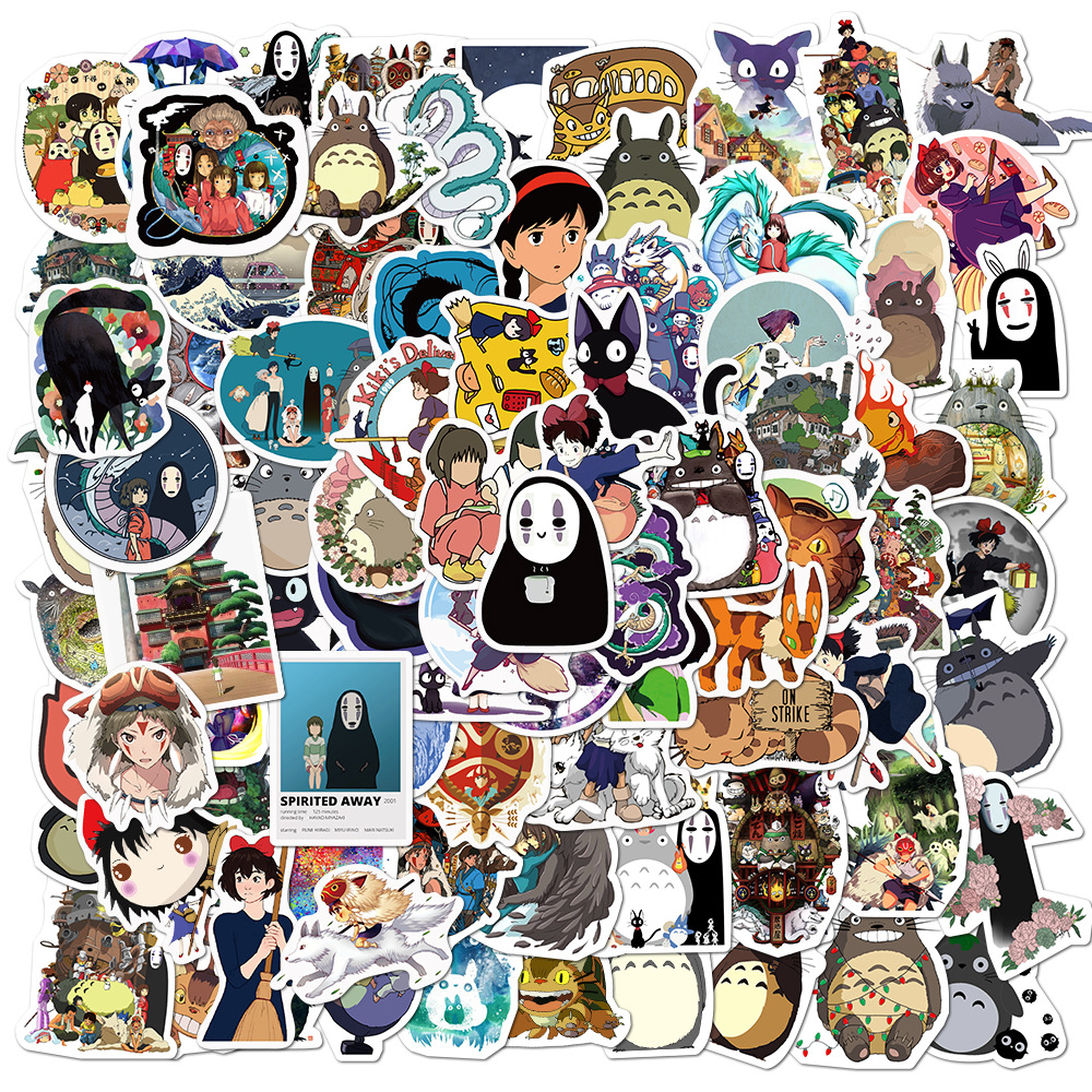 100PCS Cartoon Anime Spirited Away Stickers Totoro No Face Man DIY Children Stationery Laptop Skateboard Guitar Cute Sticker